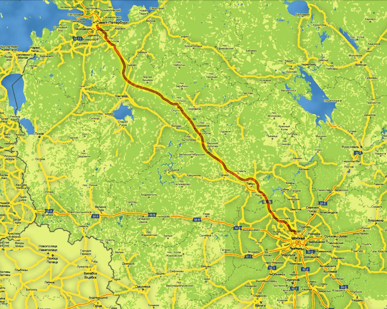 Схема трассы москва-с.петербург